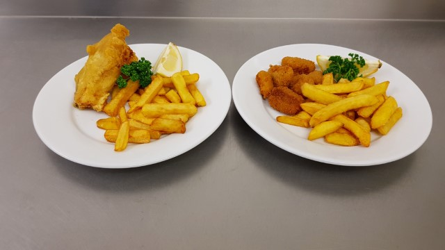 Home battered fish or scampi
